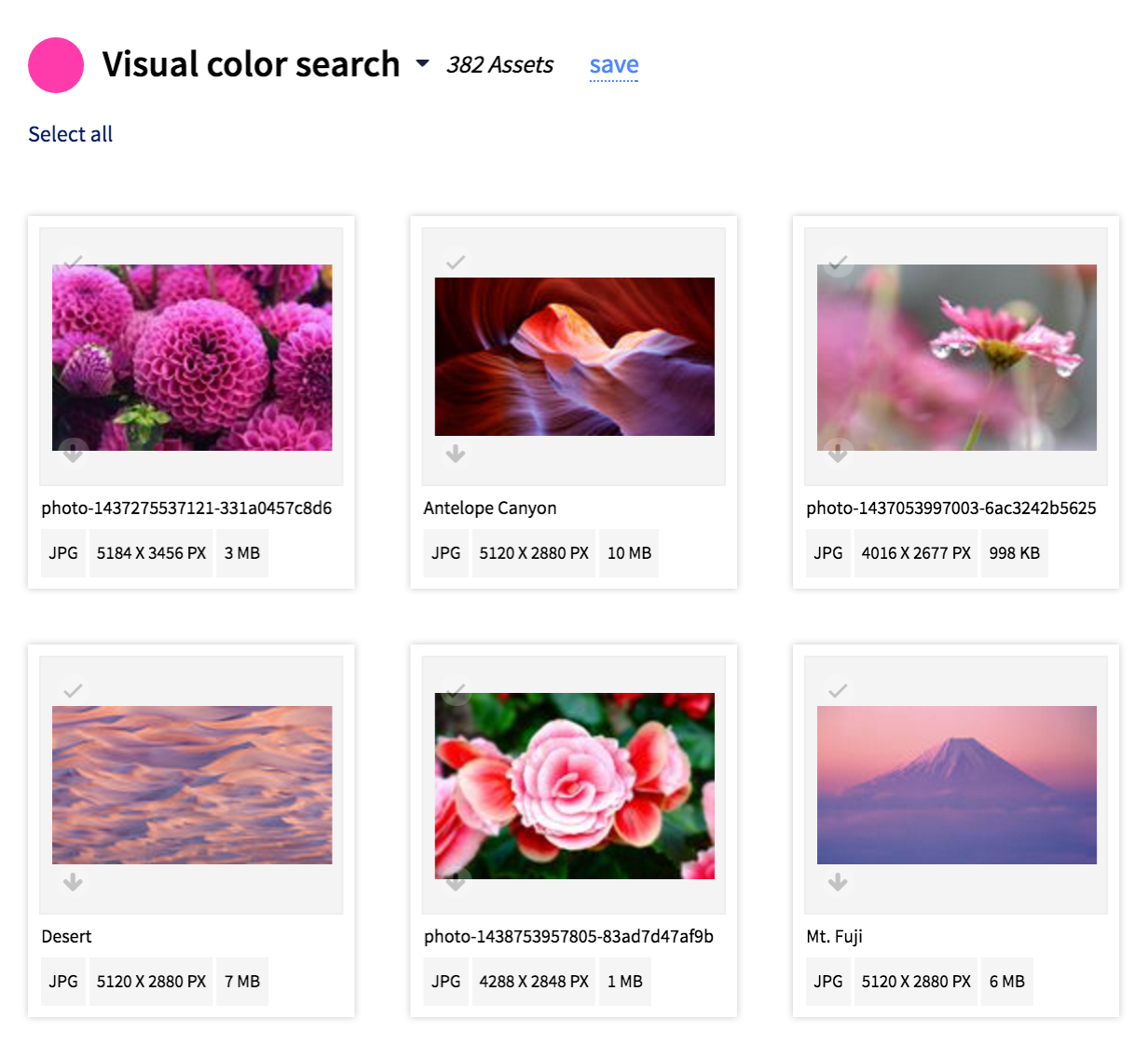 search by color digital asset management
